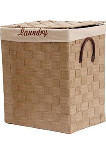 Cesto De Roupa De Fibra De Palha Laundry Bege 51X43X33Cm - 14347