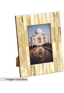 Porta Retrato Marmorizado- Bege- 21,5X16,5X2Cm- Mabruk