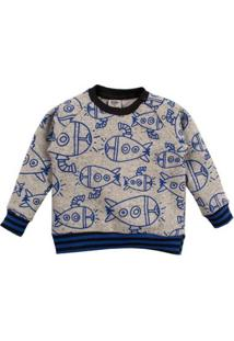 Casaco Moletom Infantil Blue Submarine Feminina - Unissex-Cinza