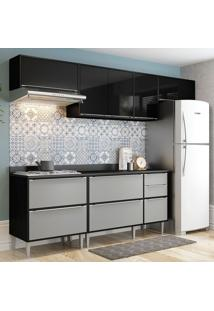 Cozinha Compacta Com Tampo 5 Peças 2826 Miami – Multimóveis - Preto / Cinza