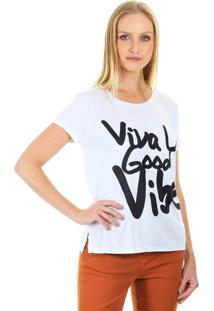Camiseta Aha Básica Gola Redonda Com Estampa Frontal E Manga Curta Branco