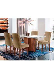 Conjunto De Mesa De Jantar Berlim Com Vidro E 4 Cadeiras Grécia Linho Turim E Off White
