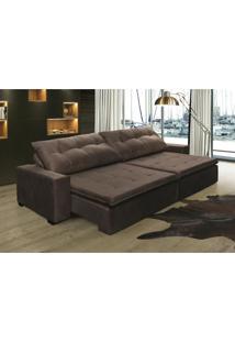 Sofá Retrátil, Reclinável Oklahoma 2,62M, Molas E Pillow No Assento Tecido Suede Café Cama Inbox