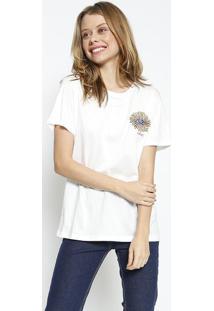 Camiseta Com Bordado - Off White - Colccicolcci