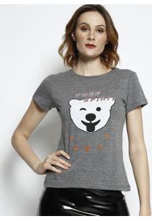 "Camiseta ""Free Spirit""- Cinza & Branca- Coca-Colacoca-Cola"