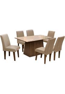 Conjunto De Mesa Para Sala De Jantar C/ Tampo De Vidro E 6 CadeirasFlorença – Dobuê - Castanho / Bege / Mascavo