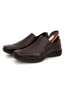 Sapato Social Br2 Footwear Couro Bico Quadrado Conforto Café