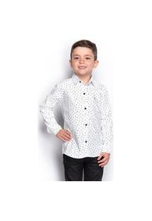 Camisa Social Infantil Menino Manga Longa Naval Botão Casual
