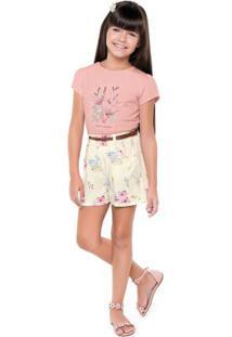 Conjunto Blusa E Short Rosa