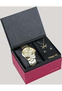 Kit De Relógio Analógico Lince Feminino + Brinco + Colar - Lrgj063L Kt30C1Kx Dourado