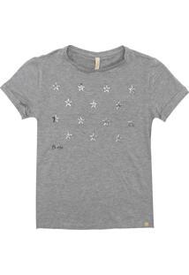 Camiseta Lunender Estrelas Menina Cinza