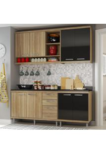 Cozinha Compacta 8 Portas Sicília Com Tampo 5819 Preto/Argila - Multimóveis