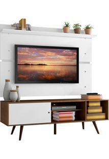 Rack Madesa Cairo E Painel Para Tv Até 65 Polegadas Com Pés De Madeira - Rustic/Branco/Branco Marrom