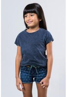 Camiseta Infantil Basica Lisa Reserva Mini Feminina - Feminino-Azul Escuro