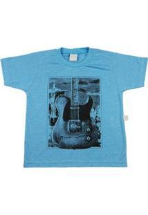 Camiseta Infantil Ano Zero Guitarra - Masculino-Azul Turquesa