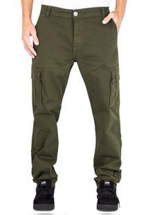 Calça Alfa Sarja Cargo Verde Militar