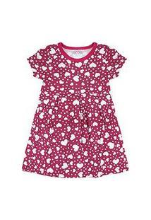 Vestido Infantil Manga Curta Cotton Pink Coração (4/6/8) - Kappes - Tamanho 6 - Pink
