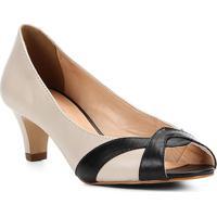 2655309e1 Peep Toe Couro Shoestock Salto Grosso Bicolor - Feminino-Off White+Preto
