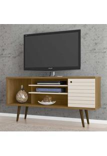 Rack Para Tv Até 55 Polegadas Safira 1 Porta Cinamomo/Off White - Móveis Bechara