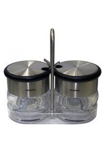 Conjunto Brinox 2 Peças Porta Condimentos Com Colher Prata