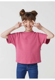 Blusa Básica Infantil Menina Manga Curta Box Rosa