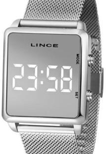 Relógio Lince Digital Quadrado Feminino - Feminino-Prata