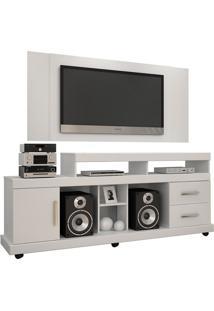 Rack Com Painel Para Tv De Até 42'' Bem Te Vi Jaspe 2 Gavetas 1 Prateleira 1 Porta Branco Jcm Movela