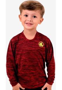 Camisa Esporte Legal Infantil Manga Longa Plank - Masculino-Vermelho+Preto