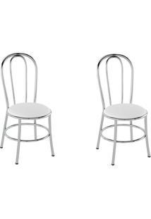 Cadeiras Kit 2 Cadeiras Pc01 Assento Branco - Pozza