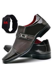 Sapato Social Masculino Asgard Com E Sem Verniz Com Relógio Led Db 814Lbm Cobre