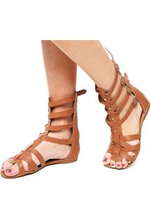 Rasteira Dafiti Shoes Gladiadora Metal Caramelo