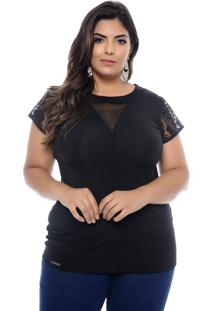 T-Shirt Elegance All Curves Plus Size Preta Miley