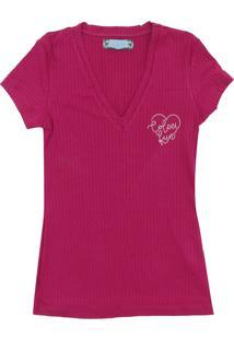 Camiseta Colcci Fun Manga Curta Menina Rosa