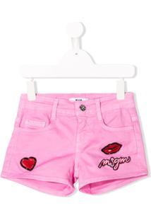 Msgm Kids Embroidered Denim Shorts - Rosa