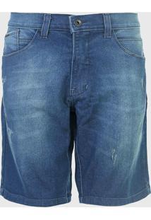 Bermuda Jeans Hd Reta Estonada Azul