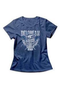 Camiseta Feminina Delorean Time Machine Azul