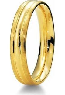 Aliança De Casamento Masculina Em Ouro 18K 750 5Mm Anatômica Wm Jóias - Masculino