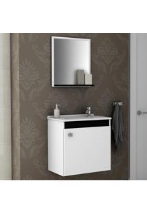 Conjunto Para Banheiro Siena Branco/Preto - Bechara Móveis