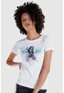 Camiseta Feminina Wonder Woman Watercolor - Feminino-Branco