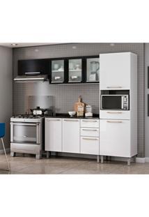 Cozinha Compacta Dandara Com Balcão 9 Pt 3 Gv Branca E Preta