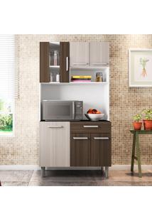 Cozinha Compacta Com Tampo Carol - Poliman - Branco / Rovere / Amêndoa