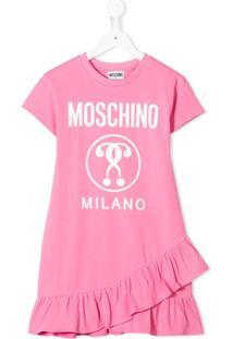Moschino Kids Vestido Reto Com Babados Na Barro - Rosa