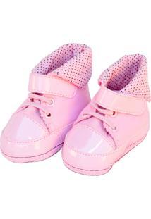 Tênis Cano Alto Bolinhas Sapatinhos Baby Rosa