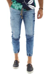 Calça Jogger Masculina Slim Jeans Claro Manchada Multicolorido
