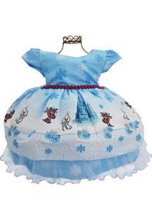 Vestido Infantil Estampa Boneco De Neve Tema Frozen