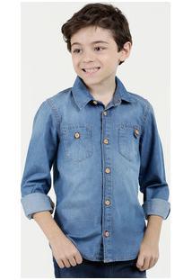 Camisa Infantil Jeans Botões Marisa