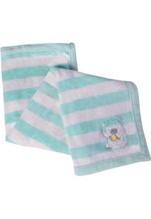 Manta Fleece Infantil Lepper Mini Estampada Verde Água Bordada