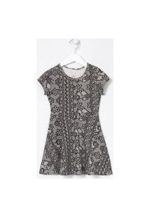 Vestido Infantil Em Cotton Com Renda - Tam 5 A 14 Anos | Fuzarka (5 A 14 Anos) | Preto | 7-8