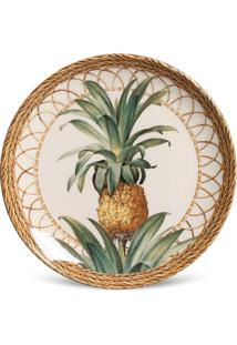 Prato Sobremesa Coup Pineapple Natural Cerâmica 6 Peças Porto Brasil