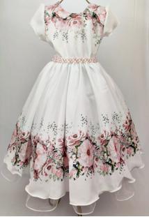 Vestido De Festa Infantil Giovanella Bege Floral Com Pérolas